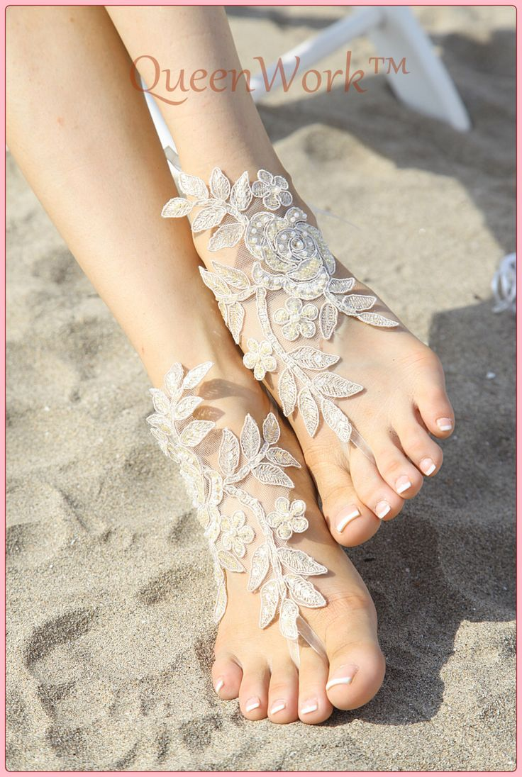 Lady Ivory Wedding Beach shoes,  Footless - Handmade - Flowered - Crochet - Barefoot - Sandal - Foot Jewelry - For bride - Bridesmaid - Gift by QueenWork on Etsy https://www.etsy.com/listing/468818034/lady-ivory-wedding-beach-shoes-footless