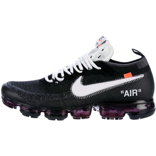Pre-owned Off-White x Nike 2017 The 10: Nike Air Vapormax FK Sneakers (€1.240) ❤ liked on Polyvore featuring men's fashion, men's shoes, men's sneakers, black, mens low profile sneakers, mens black sneakers, mens rubber sole shoes, men's low top sneakers and nike flyknit mens shoes
