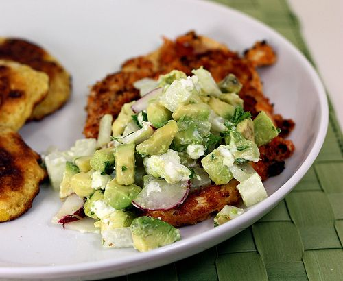 Breaded Buffalo Chicken with Avocado-Goat Cheese-Jicama Relish