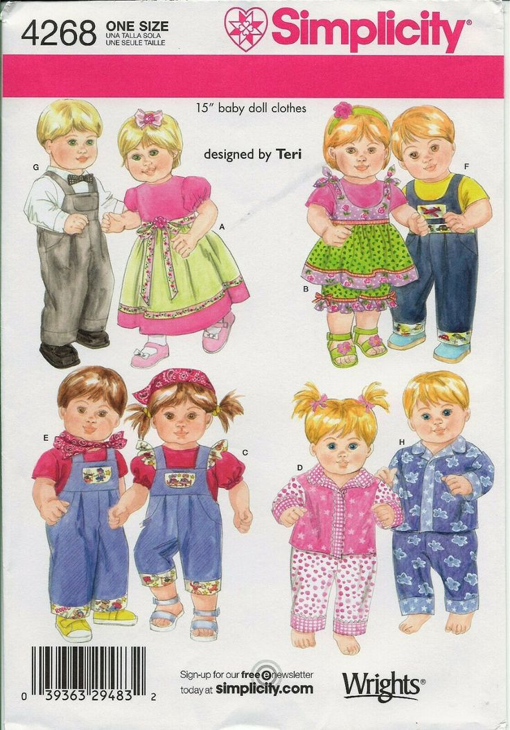 """Simplicity 4268 fit 15"""" Bitty Baby Alive Twins Doll"""