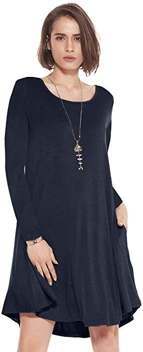 35bc4bb603410 JollieLovin Women's Pockets Long Sleeve Casual Swing Loose Dress    #womensfashion