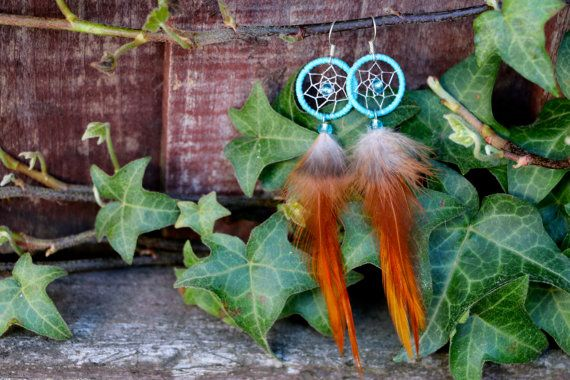 Light Blue Dream Catcher Earrings by nZuriArtDesigns on Etsy