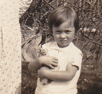 Little Girl with Pet Guinea Pig, 1930s Vintage Photograph