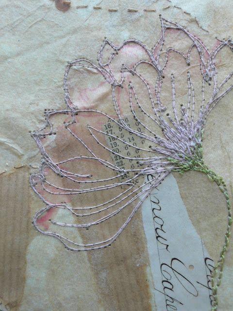 vintage ephemera and free motion embroidery