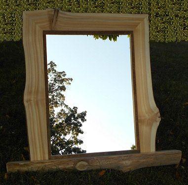 Cedar Rustic Framed Mirror - Natural Edge Mirror Frame - Live Edge Mirror Frame - Northern White Cedar -- Shelf Wall Mirror
