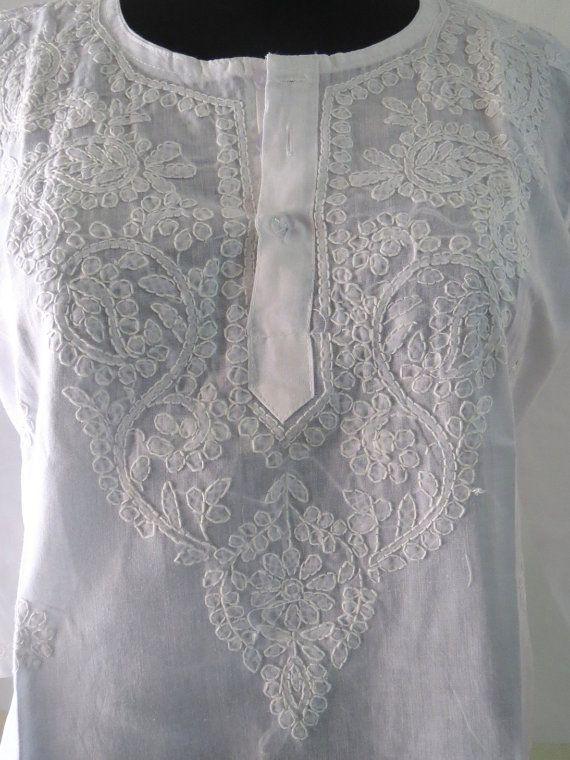 Indian Cotton Chicken embroidered kurta white Top Tunic by lavinas 21.99