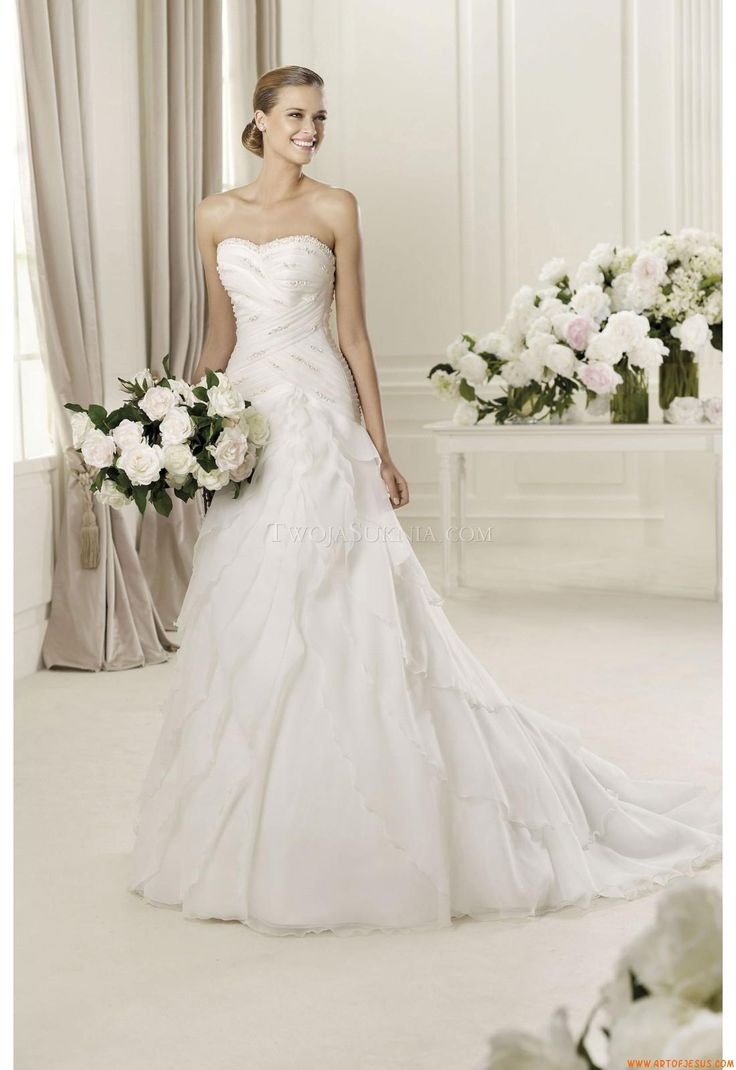 緊縛ウェディング1 オーガンザのウェディングドレス, ウェディングドレスのスタイル, 結婚式のdressses, Pronoviasのウェディングドレス,  ブライダルドレス, Pronoviasブライダル, ...