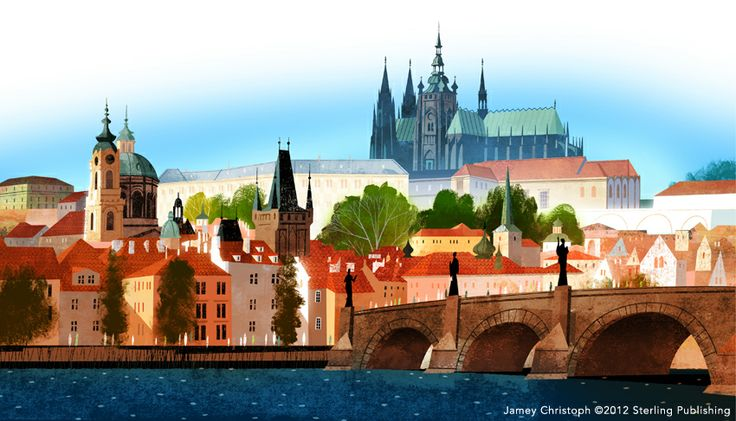 Prague Castle and Charles Bridge, Prague by Jamey Christoph for the book Cursive Writing: Around the World in 26 Letters