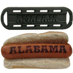 "Alabama Crimson Tide Team Logo Hot Dog Grill Topper by Football Fanatics. $17.00. Make a better dog with this Alabama team logo grill topper. Sear your team's logo onto grilled hot dogs or other meats - simply set this portable grill topper onto your existing grill rack, put the meat on top and voila! Awesome team logo emblazoned entrees perfect for tailgating!Grill topper measures approximately 8"" x 2.5""Portable ceramic coated cast iron grill rackDesigned in the Unit..."