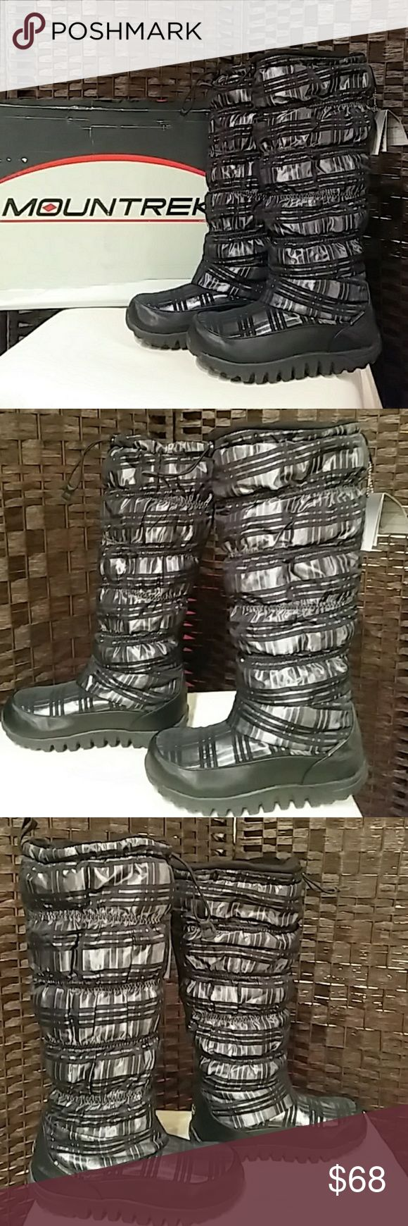 """TALL WINTER BOOTS                            6.5-7 *NEW IN slightly DAMAGED BOX (Box was damaged in the moving shuffle from Chicago to Dallas but still well intact). MOUNTREK SIZE 7 (Run slightly smaller - a 6.5 or someone who runs between 6.5 & 7 will most likely do best in these boots). 16.5"""" tall resting on a 1"""" platform for a boost in height. Boots name is """"Lisa Puff Tall  Plaid Black - and that pretty much sums it up! Mountrek Shoes Winter & Rain Boots"""