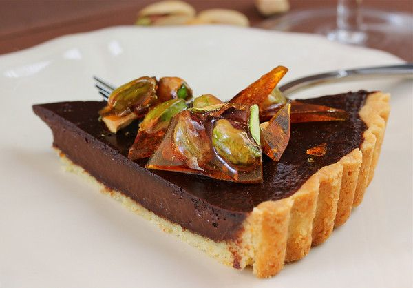 Bittersweet Chocolate Tart with Salted Caramelized Pistachios Recipe ...