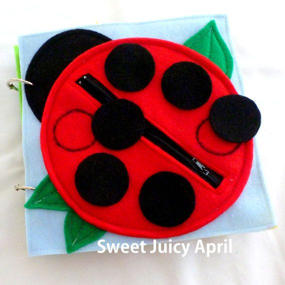 Ladybug Zipper Quiet Book Page by SweetJuicyApril on Etsy