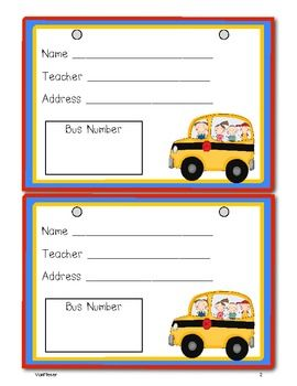 Bus Tags- Freebie
