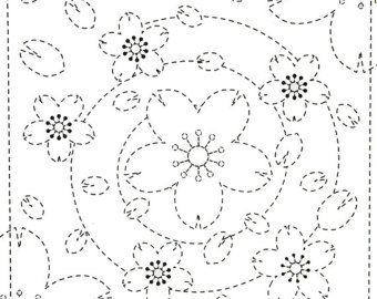 Flores espiral 36 - Sampler Sashiko blanco con rosca