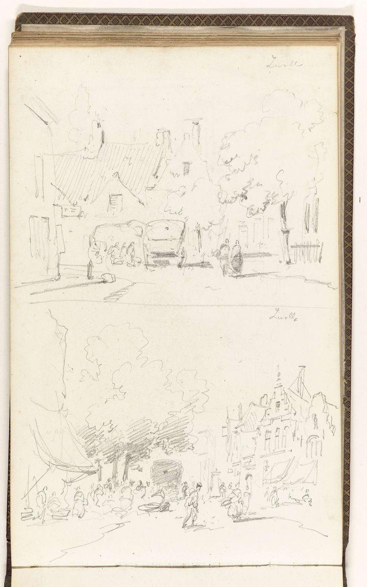 Adrianus Eversen   Twee stadsgezichten in Zwolle, Adrianus Eversen, c. 1828 - 1897   Twee stadsgezichten in Zwolle. Boven een gezicht op een straat of plein met huizen, bomen, figuren en een rijtuig. Onder een gezicht op een straat met aan weerszijden gebouwen. Links een gebouw met een luifel. Op straat een rijtuig en figuren. Blad 27 verso uit een schetsboek met 52 bladen vervaardigd in de omgeving van Kampen, Hattem, Hoorn en Zwolle.