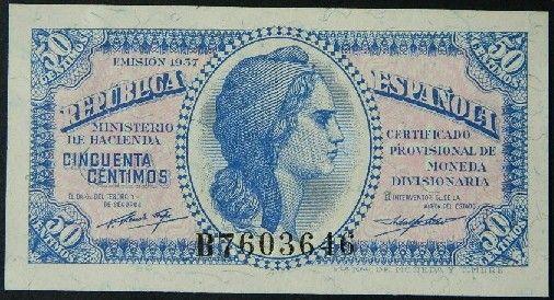 50 centimos 1937 de la Republica española. Ministerio de hacienda. Certificado provisional de moneda divisionaria.…