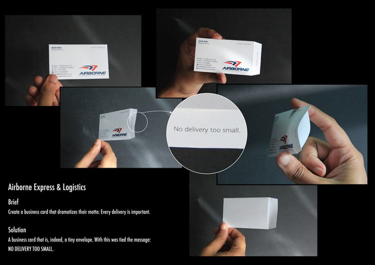 A business card that is, indeed, a tiny envelope. With this was tied the message: NO DELIVERY TOO SMALL.