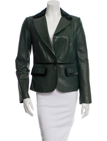 Etro Velvet-Trimmed Leather Blazer  Size:MUS6, IT42 $95.00 Velvet-Trimmed Leather Blazer