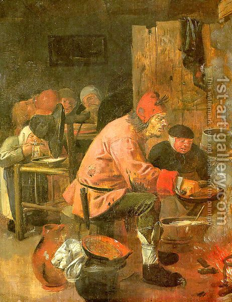 The Pancake Baker 1620s Adriaen Brouwer | Oil Painting Reproduction | 1st-Art-Gallery.com