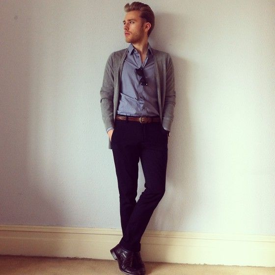 H Cardigan, Cos Shirt, Topman Trousers