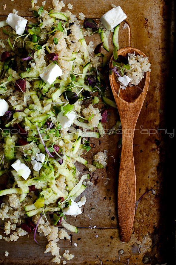 zucchini quinoa salad with microgreens: Zucchini Quinoa, Green Salad, Tenders Green, Sea Salts, Micro Green, Food Photography, Quinoa Salad, Food Processor, Chicken Salad Recipes