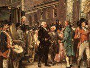 Washington's inauguration at Philadelphia: George Washington arriving at Congress Hall in Philadelphia, March 4, 1793.