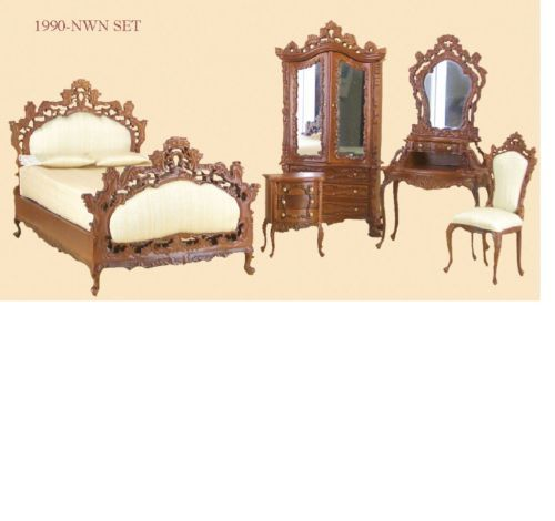 Bespaq Dollhouse Miniature victorian bedroom furniture set bed walnut wood New