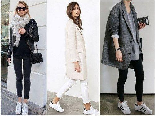 С чем носить белые кеды: узкие брюки и прямое пальто или куртка