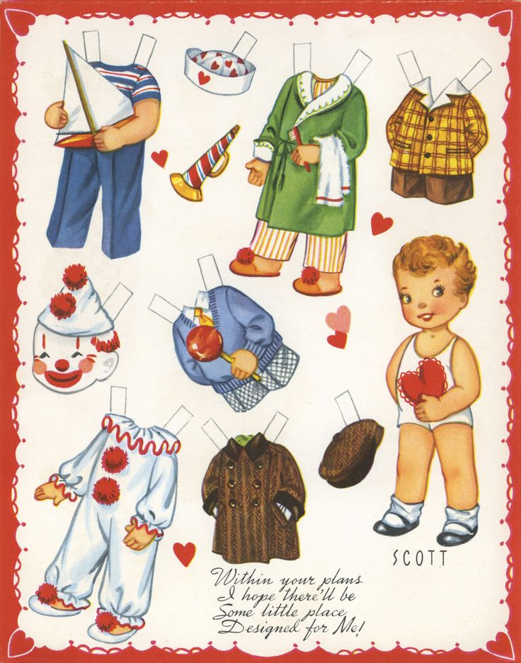 "✄ #Paper dolls.....""Scott""- Valentine ✄-Out Doll Book, A-Meri-Card, 1952