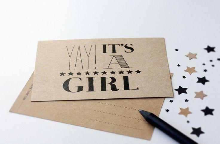 Kartonnen kaart -Yay it's a girl