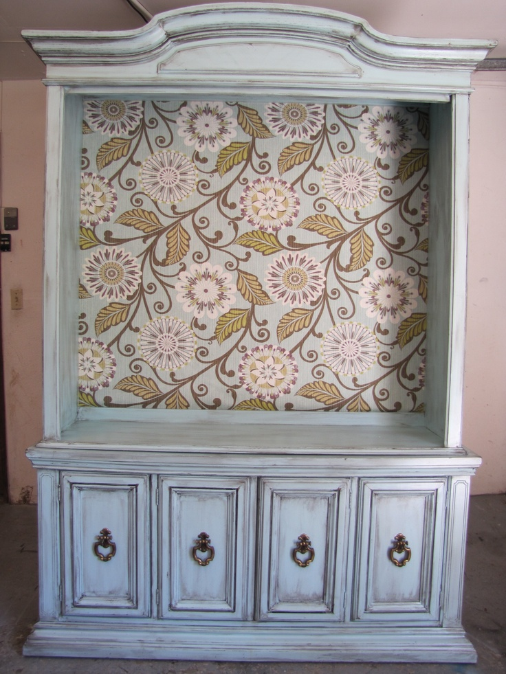 Distressed Aqua Blue Repurposed TV Media center stand from Vintage China Hutch--Love the wall paper!