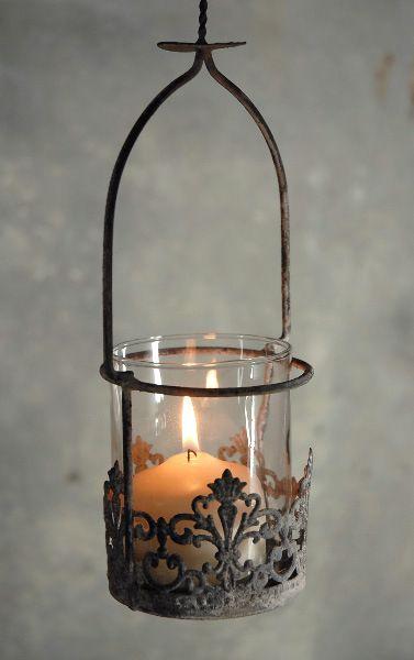 Elizabeta metal hanging candle lantern for Wire candle lantern