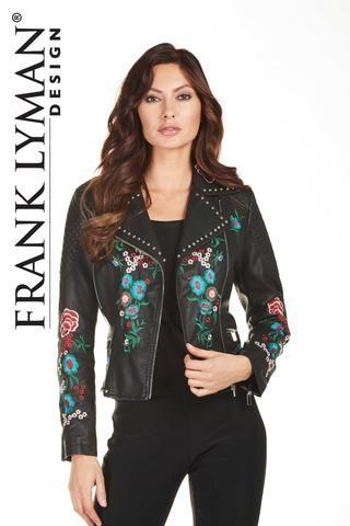 Chic floral appliques biker style jacket.