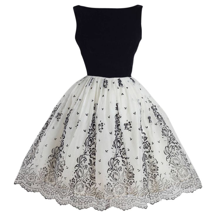 Chic Vintage 1950's Black and White Flocked Chiffon Party Dress