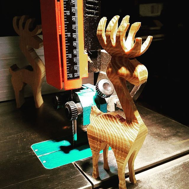 """Wesenberg Woodworks and their Laguna Bandsaw.   """"Reindeer version 2.0 - much improved. Going to make a few of them and then offer them up for sale, fun holiday gift."""" -Wesenberg Woodworks  #wood #woodgeek #woodworking #woodworker #reindeer #holidaygifts #handmade #lagunatools @wesenbergwoodworks"""