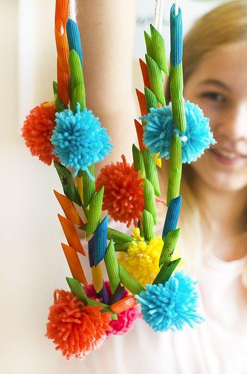 Macaroni Pompom Flower Necklaces