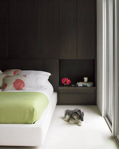 Built-in headboard wall with storage