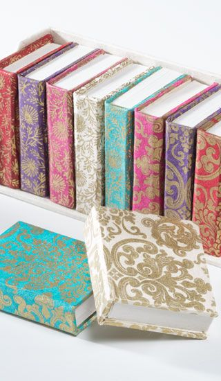 Beautiful flock paisley designs in beautiful note books make lovely gifts for family and friends. From www.fuschiadesigns.co.uk.
