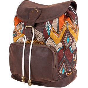 brown backpack with native markings