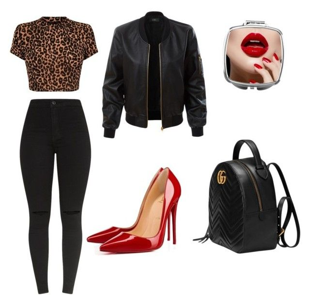"""""""cheek on fleek"""" by lfumbani on Polyvore featuring LE3NO, Christian Louboutin and Gucci"""