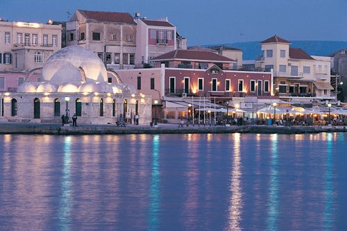 I've always wanted to go to Greece, so I thought I should actually look into it! This picture is from the prefecture of Chania on the island of Crete. I love seeing places lit up beautifully like these buildings!