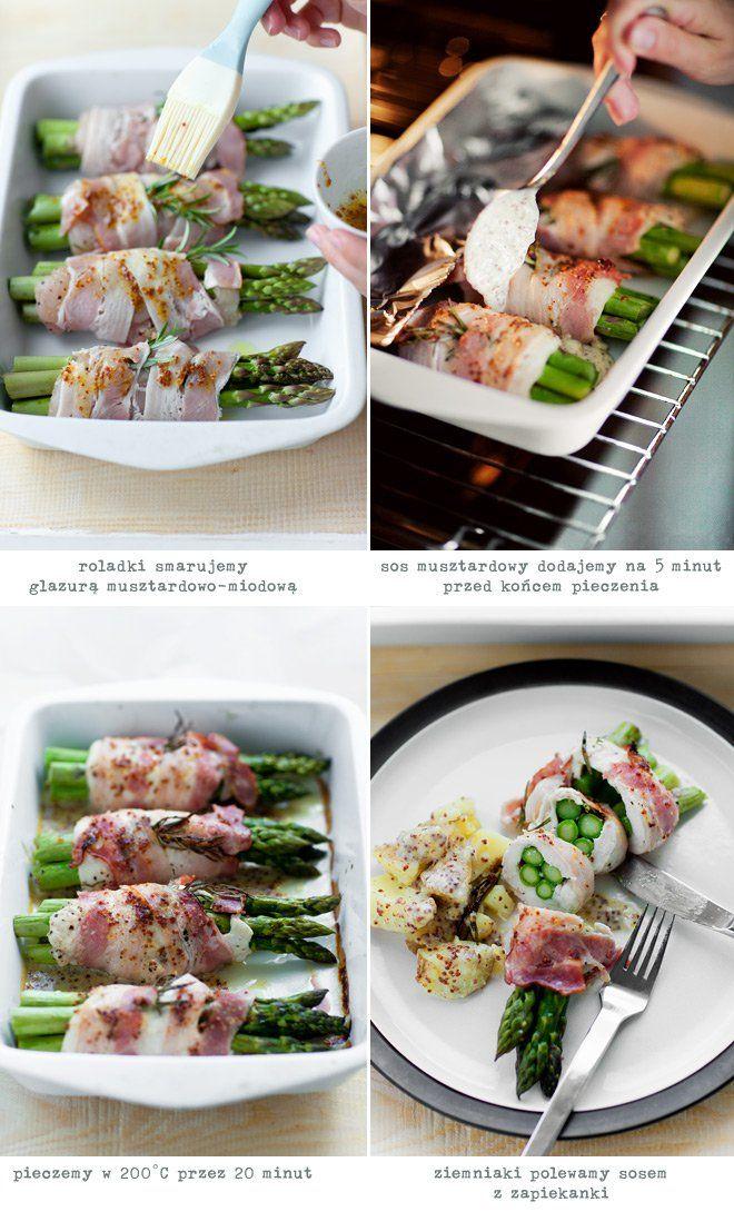 Roladki ze szparagami i kurczakiem w boczku | Kwestia Smaku