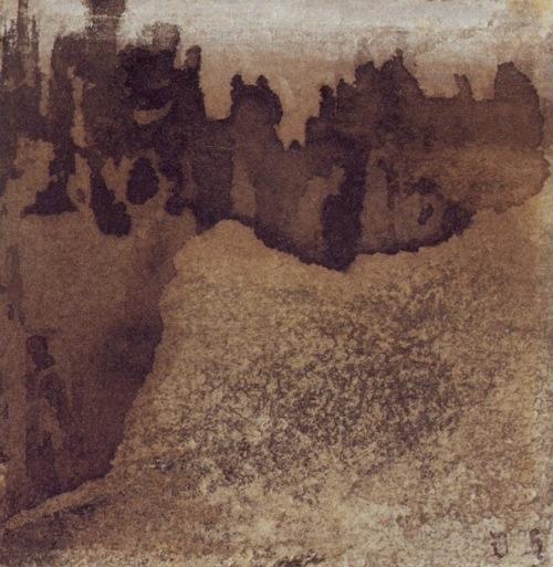 Victor Hugo (1802-1885)    Chemin de ronde d'un château effondré, vers 1850,    Plume, pinceau, encre brune et lavis, crayon de graphite, crayon noir, rehauts de gouache blanche, grattages sur papier cartonné beige.