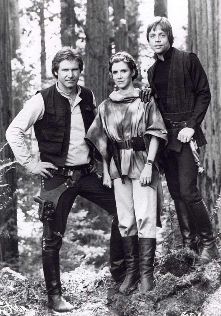 Harrison Ford (Hans Solo), Carrie Fisher (Princess Leia) & Mark Hamill (Luke Skywalker) in Star Wars: Return of the Jedi (1983)