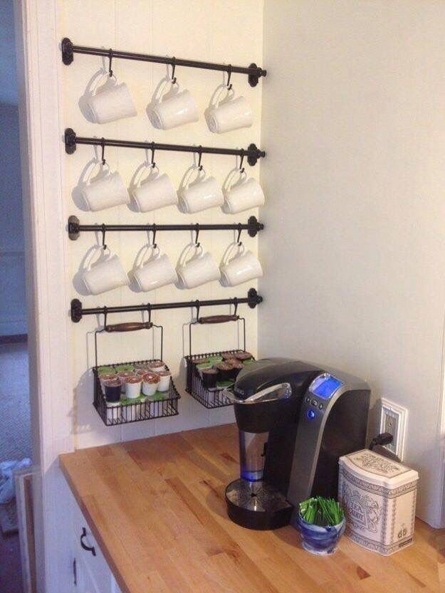 """Coffee Station using towel bars and """"S"""" hooks."""