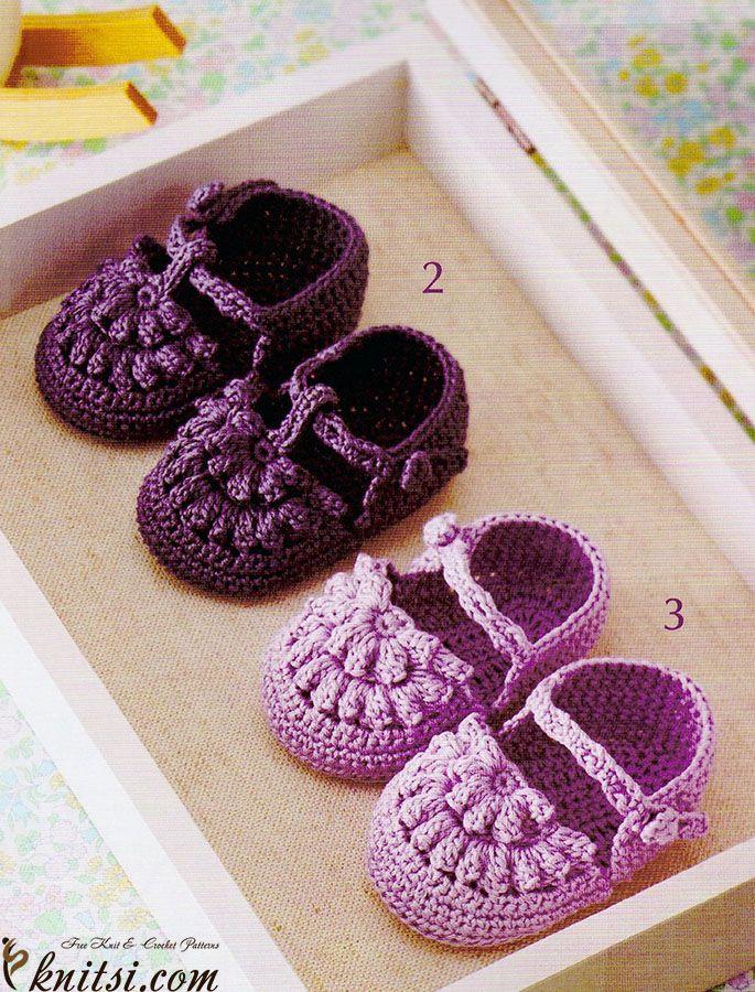 Baby shoes crochet pattern knitsi.com/knitting-for-girls/325-baby-shoes-crochet-pattern