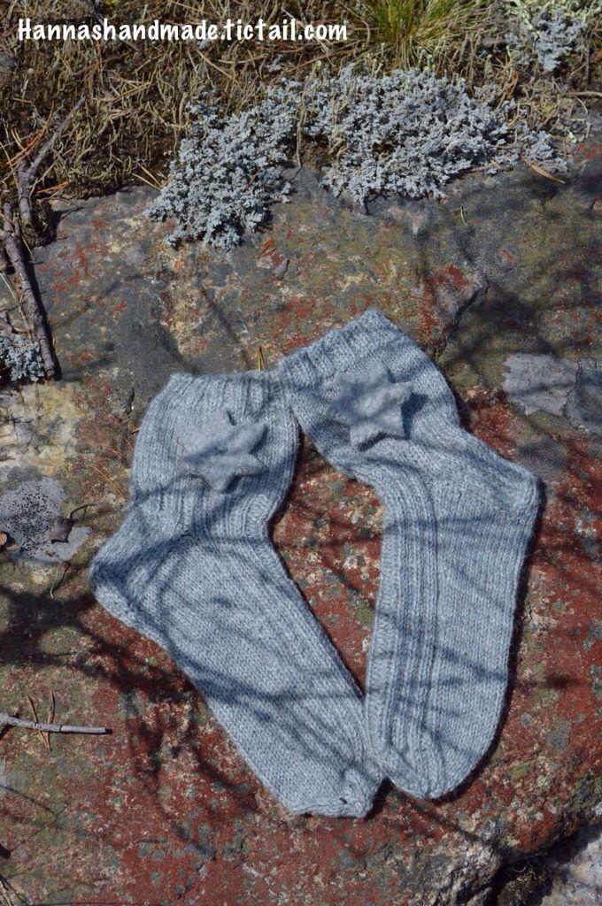 #Handmade #Woolen #socks with #felted #star #woolsocks #nature #madeinfinland #rock #shadows