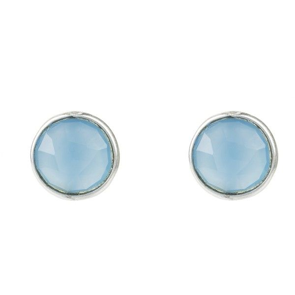 Medium circle stud silver blue chalcedony ($61) ❤ liked on Polyvore featuring jewelry, earrings, silver stud earrings, chalcedony jewelry, circular earrings, silver earrings and blue chalcedony earrings