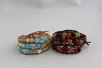 Leather wrap bracelets with agate