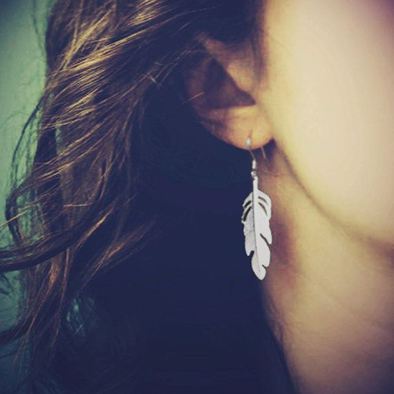 Silver Feather Earrings by NauticalWheeler on Etsy, $20.00
